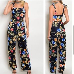 NWT Navy Floral Jumpsuit